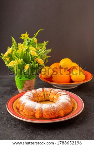 Front View Sweet Round Cake With Sugar Powder Sliced Sweet Delicious Isolated Cake Inside Plate Along With Lemons Grey Background Biscuit Sugar Cookie #1788652196
