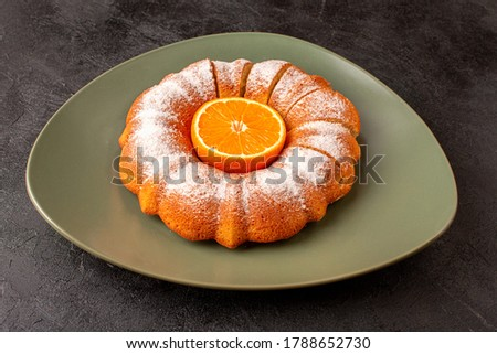 Front View Sweet Round Cake With Sugar Powder Wand Orange Middle Sliced Sweet Delicious Inside Plate Grey Background Biscuit Sugar Cookie #1788652730