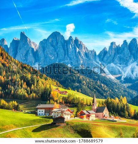 Colorful autumn scene of magnificent  Santa Maddalena village in Dolomites.  Location: Santa Maddalena village, Val di Funes, Trentino-Alto Adige, Dolomites, Italy, Europe #1788689579