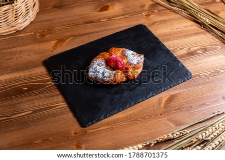 Front View Sweet Bagel With Sugar Powder Black Tissue Yummy Delicious Isolated Brown Desk Sugar Cookie #1788701375