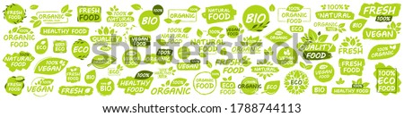 Set of Vegan, Eco, Bio, Organic, Fresh, Healthy, 100 percent, natural food. Natural product. Collection of 60 emblem, cafe, badges, tags, packaging. Vector illustration. Royalty-Free Stock Photo #1788744113