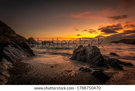 Coastal image in Woolacombe North Devon summer of 2020 At Sunset Cove Called Combegate Royalty-Free Stock Photo #1788750470
