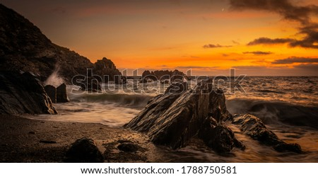 Coastal image in Woolacombe North Devon summer of 2020 At Sunset Cove Called Combegate Royalty-Free Stock Photo #1788750581