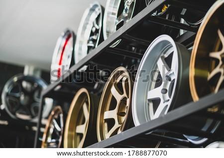 Alloy car racks, equipment rack at car repair service Royalty-Free Stock Photo #1788877070