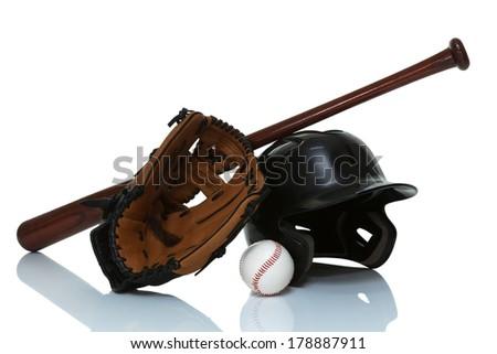 Baseball equipment isolated on white close up #178887911