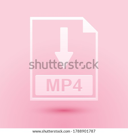 Paper cut MP4 file document icon. Download MP4 button icon isolated on pink background. Paper art style. Vector.