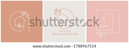 Vector logo sign design template in simple linear style - home decor store emblem, scandinavian and minimal interior decoration, accessories and objects - house shape symbol, heart, leaves, frames  Royalty-Free Stock Photo #1788967514