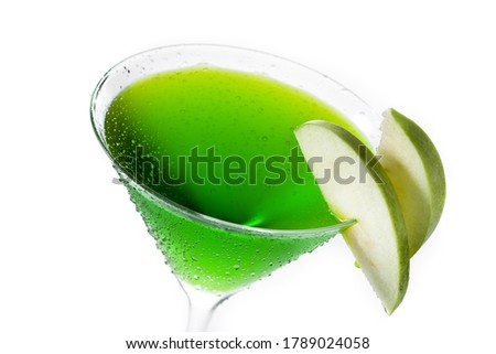 Green appletini cocktail in glass isolated on white background. #1789024058