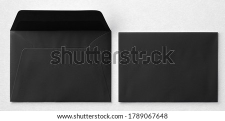 Black announcement envelope set mockup isolated on white background. Format A5. Royalty-Free Stock Photo #1789067648