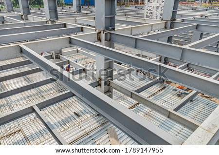 Metal girders and flooring made with steel plates Iron mesh over corrugated galvanized steel floor #1789147955