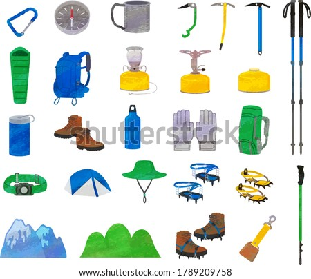 Mountaineering goods illustration material / analog style