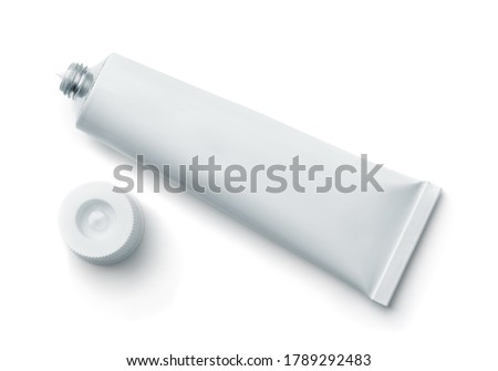 Top view of open blank cosmetic tube isolated on white Royalty-Free Stock Photo #1789292483