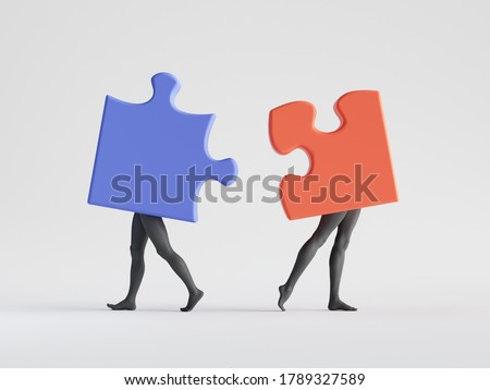 3d render. Couple of abstract puzzle pieces with mannequin legs. Mismatch or divorce metaphor. Social role play. Partners broke up. Minimal clip art isolated on white background
