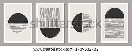Trendy set of abstract creative minimalist artistic hand painted composition ideal for wall decoration, as postcard or brochure design, vector illustration Royalty-Free Stock Photo #1789332782