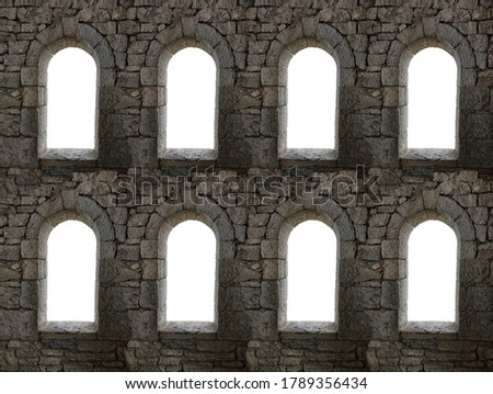 Seamless background pattern digitally generated from old ruined stone windows #1789356434