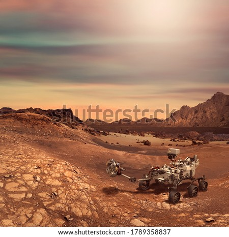 Illustration of Perseverance rover in the Planet Mars rocky landscape. Some elements furnished by NASA. Royalty-Free Stock Photo #1789358837