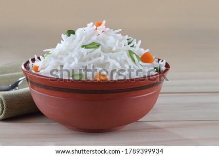 Cooked Basmati rice in a bowl. Indian Basmati are known for their aroma and freshness. #1789399934