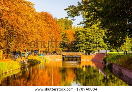 Lille autumn scene. Taken in the canal bank of Lille,France. #178940084