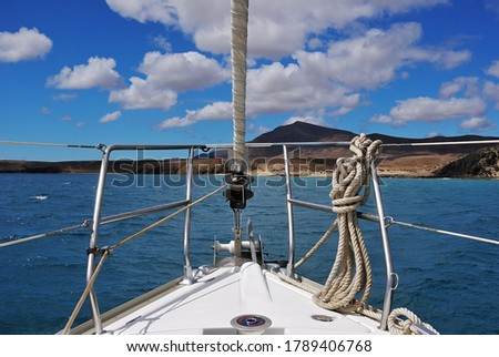A sailing boat in the atlantic ocean. Lanzarote, Spain.  Canary Islands Archipelago  Royalty-Free Stock Photo #1789406768