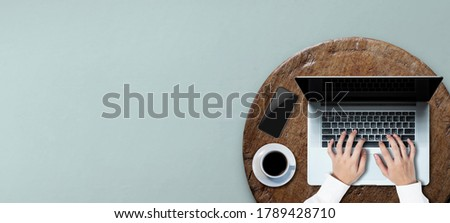 Marketing concept.Person using a laptop computer. A business man using over keyboard click searching.Data Information Networking.