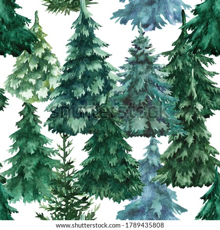 Watercolor Christmas trees seamless patterns