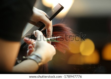 Hairdresser trimming brown hair with scissors #178947776