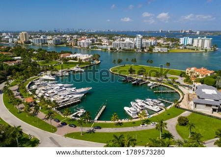 Bal Harbour marina with luxury yachts Miami Beach FL aerials Royalty-Free Stock Photo #1789573280
