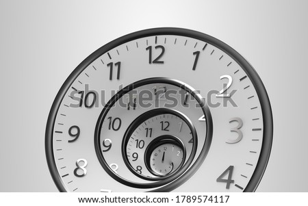 Classic Vintage Round Clock Spinning forward or backward with infinity time. Old round Clock isolated on background with Clipping Path, Clipping Mask. 3D Illustration 8K