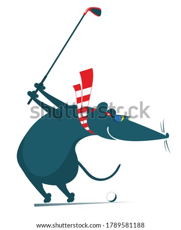 Cartoon rat or mouse plays golf illustration. Funny rat or mouse tries to do a good kick isolated on white