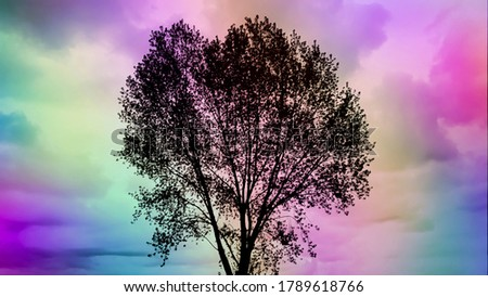 Tree silhouette against colorful sky background. Lone tree against colorful sky background. Colorful abstract art. Rainbow abstract background. Twilight sky backdrop. Twilight clouds. Twilight colors.