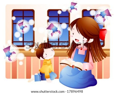 Jesus Christ and Happy Christian - enjoying with a little cute child and lovely young female in a church on background of windows and pink wallpaper : vector illustration #17896498