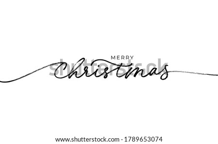 Merry Christmas vector brush lettering. Hand drawn modern brush calligraphy isolated on white background. Christmas vector ink illustration. Creative typography for Holiday greeting cards, banner #1789653074