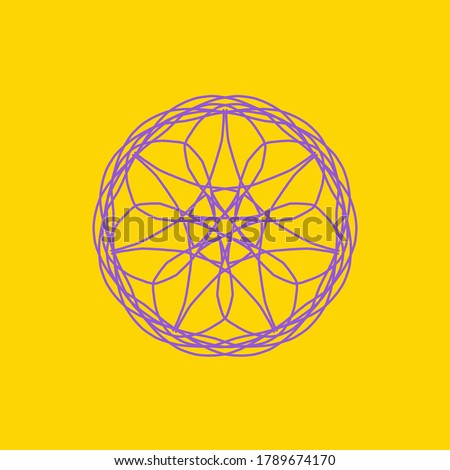 Purple abstract shape on yellow background. Computer generated geometric illustration. Abstract digital background. Geometric Shape, Circle, Geometry, Line, Spiral, Spirograph, Symmetry, Ornament #1789674170