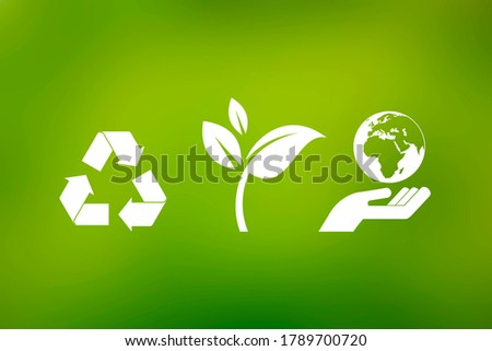 White eco symbols on a green background. Recycling symbol, leaf, hand with planet earth icon set. Environment clip art. Ecology icon set isolated on a green background