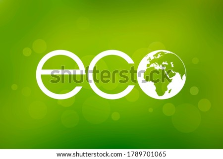 White eco inscription on a green background. Environment clip art. Ecology icon isolated on a green background. Bio planet earth symbol