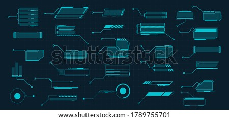 Callouts titles. Callout bar labels, information call box bars and modern digital info. Tech digital info boxes hud templates. Futuristic set advertising communication. Vector illustration #1789755701