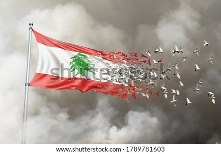 Lebanon flag on a pole turn to birds while waving against a background of smoke. Blast scene on the Lebanese capital of Beirut - 3D illustration.