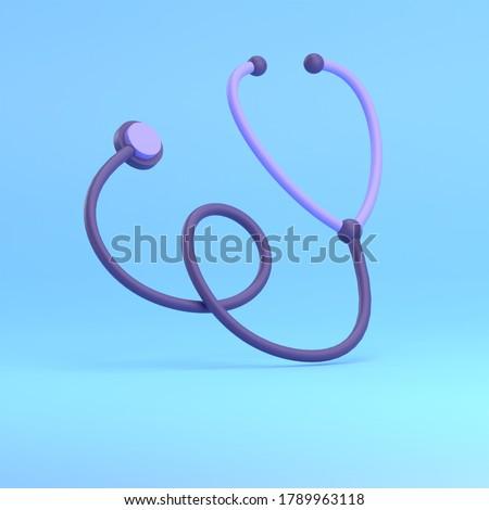 3D RENDER ILLUSTRATION STETHOSCOP MEDICAL KIT DOCTOR BLUE BACKGROUND