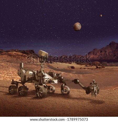Illustration of Perseverance rover exploring the Planet Mars rocky landscape. Some elements furnished by NASA. Royalty-Free Stock Photo #1789975073