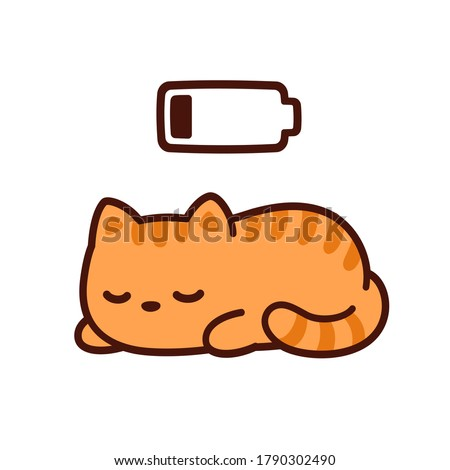 Cute cartoon kitten taking power nap with charging battery. Kawaii sleeping cat drawing, clip art illustration.