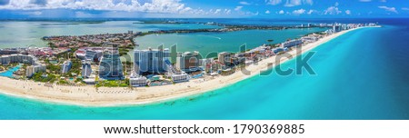 Aerial panoramic view of the Hotel Zone (Zona Hotelera) and the beautiful beaches of Cancún, Mexico Royalty-Free Stock Photo #1790369885