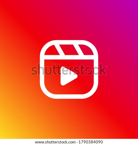 Popular social media Instagram reels button, play button modern vector icon on a gradient background #1790384090