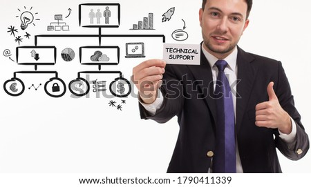 Business, technology, internet and network concept. Young businessman thinks over the steps for successful growth: Technical support #1790411339