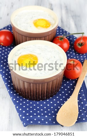 Baked eggs close up #179046851