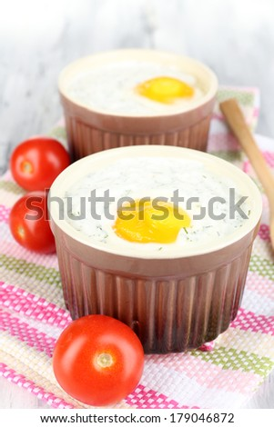Baked eggs close up #179046872