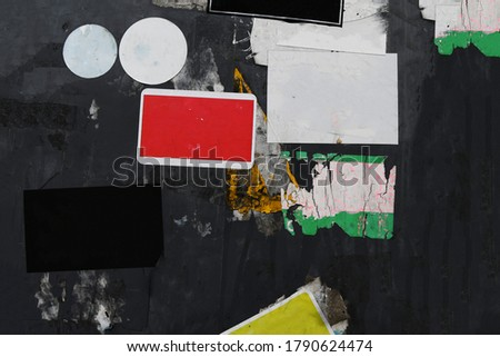 Street stickers on grungy urban background, space for text Royalty-Free Stock Photo #1790624474
