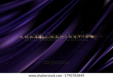 Awarding the nomination ceremony luxury black wavy background with golden glitter sparkles. Vector background EPS10 #1790783849