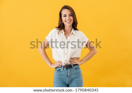 Portrait of a young casual style woman isolated #1790840345