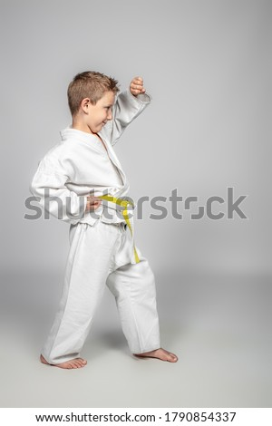 7 year old boy practices jujitsu. Sport and martial arts concept. Royalty-Free Stock Photo #1790854337