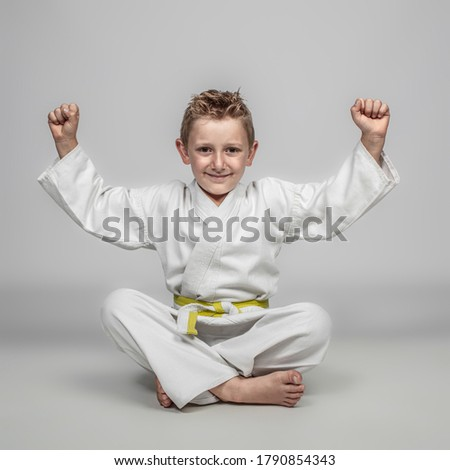cheerful child practicing martial arts sitting on the ground with his arms raised in a sense of victory. happy expression. Royalty-Free Stock Photo #1790854343